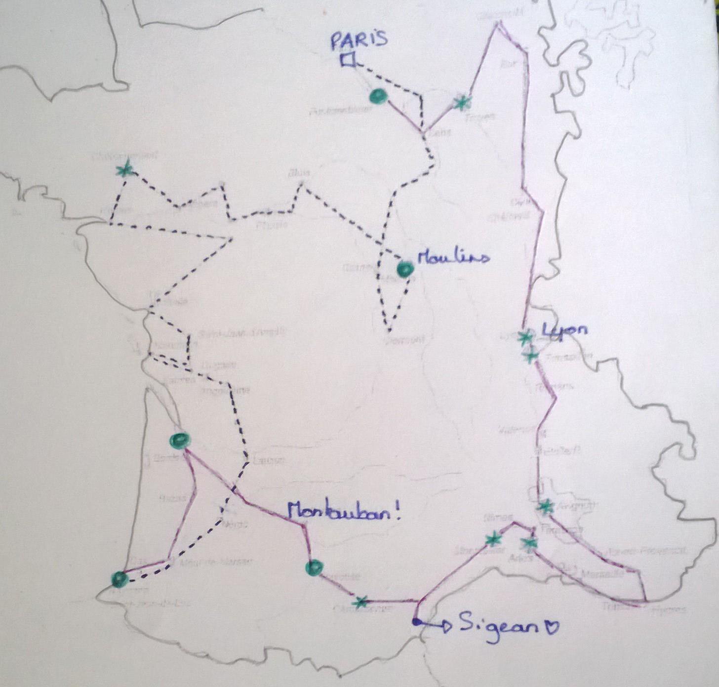 Les points verts sont les séjours d'au moins un mois Les étoiles vertes d'au moins une semaine La ligne rose c'est l'aller de Paris à Bayonne La ligne en pointillets le retour de Bayonne à Paris