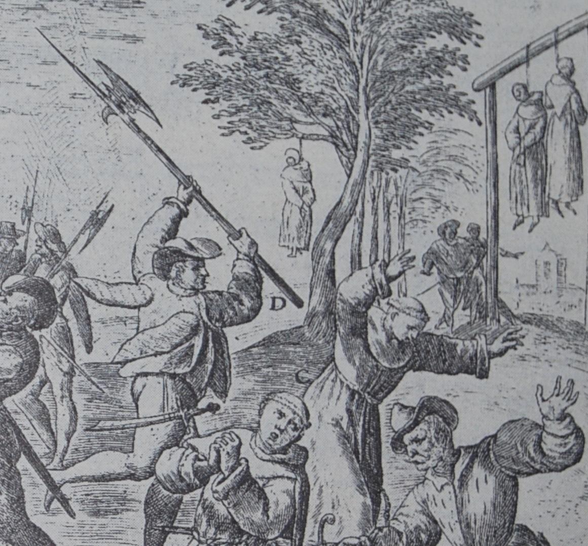 Coupé en deux et pendus - protestants